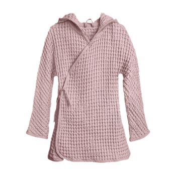 The Organic Company Big Waffle Kids Bathrobe Pale rose