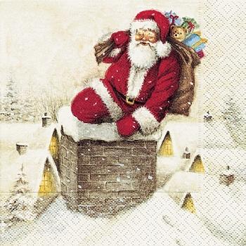 Набор трехслойных бумажных салфеток (20 шт.) Broste Copenhagen Santa Claus red