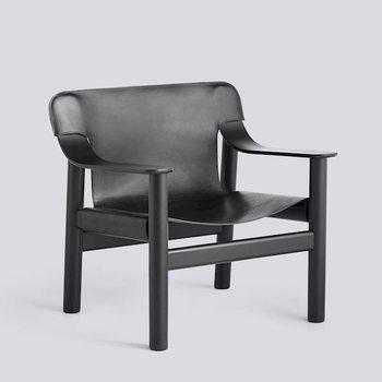 Стул Bernard с подлокотниками, deep black painted oak base , black leather cover
