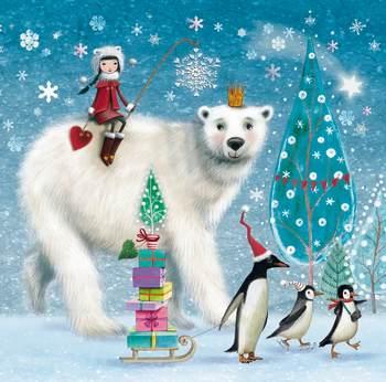 Набор трехслойных бумажных салфеток (20 шт.)  Broste Copenhagen Polar Bear multicolor