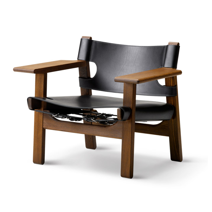 "Кресло Fredericia Easy chair ""The Spanish chair"", smoked oil, black leather. Изображение 1"