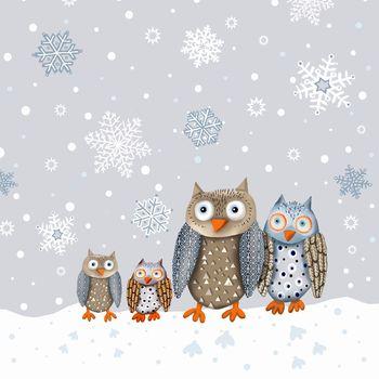 Набор трехслойных бумажных салфеток (20 шт.)  Broste Copenhagen Owl blue