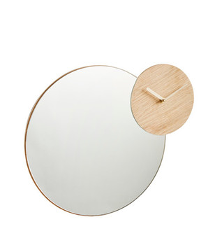 Зеркало настенное с часами Woud Timewatch mirror
